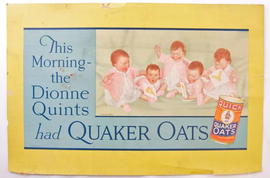 "Vintage Quaker Oats ""Dionne Quints"" Advertising Cardboard Sign"