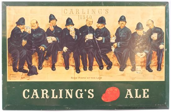 "Vintage Carling's Ale ""Nine Pints of the Law"" Advertising Tin on Cardboard Beer Sign"