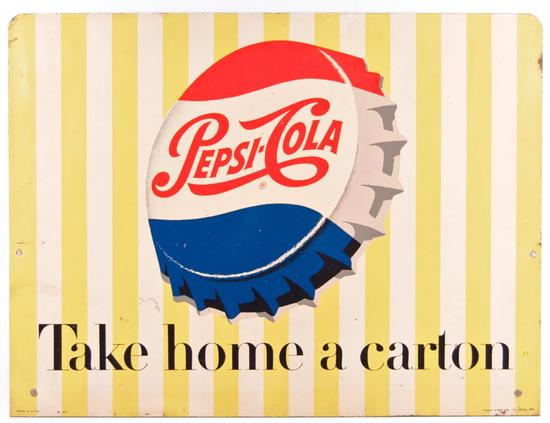 "Vintage Pepsi-Cola ""Take Home a Carton"" Double Sided Advertising Metal Sign"