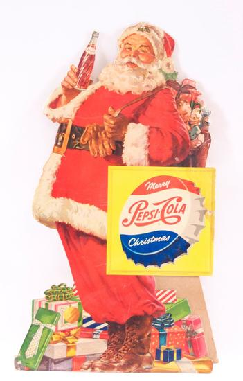 "Vintage Pepsi-Cola ""Merry Christmas"" Advertising Die-Cut Santa Countertop Standee"