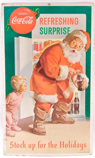 "Vintage Coca-Cola ""Stock Up For The Holidays"" Advertising Cardboard Countertop Standee"
