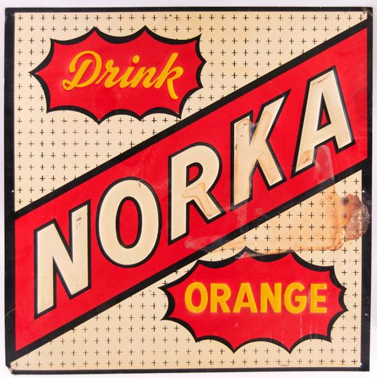 Vintage Drink Norka Orange Embossed Advertising Metal Sign
