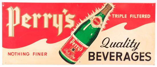 Vintage Perry's Sparking Pale Dry Ginger Ale Embossed Advertising Metal Sign