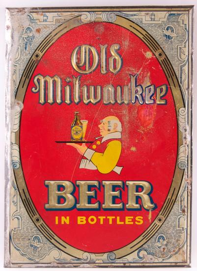 Vintage Old Milwaukee Beer Advertising Metal on Cardboard Sign