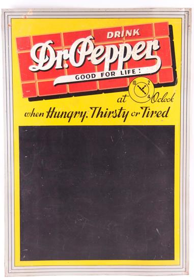 "Vintage Dr. Pepper ""Good for Life!"" Advertising Embossed Metal Chalkboard Sign"