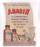Antique Anacin Advertising Cardboard Sign