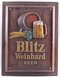 Vintage Blitz Weinhard Beer Advertising Vacuum Formed Sign