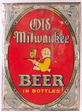 Vintage Old Milwaukee Beer Advertising Metal on Cardboard Sign
