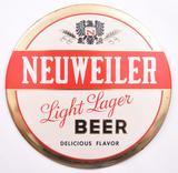 Vintage Neuweiler Light Lager Beer Advertising Tin on Cardboard Button Sign