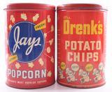 Group of 2 Vintage Jays Popcorn and Drenk's Chips Advertising Tins