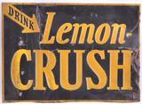 Vintage Lemon Crush Embossed Advertising Tin Tacker Sign