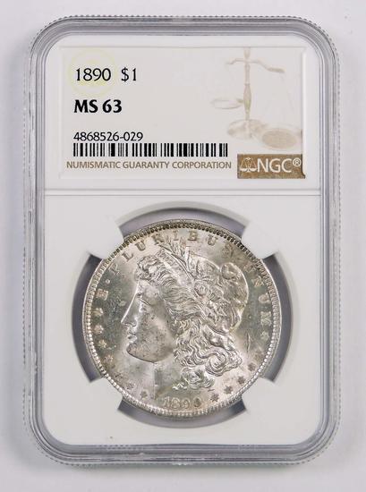 1890 P Morgan Silver Dollar (NGC) MS63.