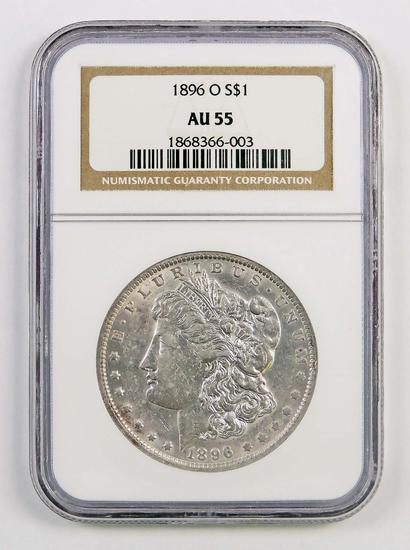 1896 O Morgan Silver Dollar (NGC) AU55.