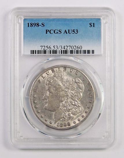 1898 S Morgan Silver Dollar (PCGS) AU53.