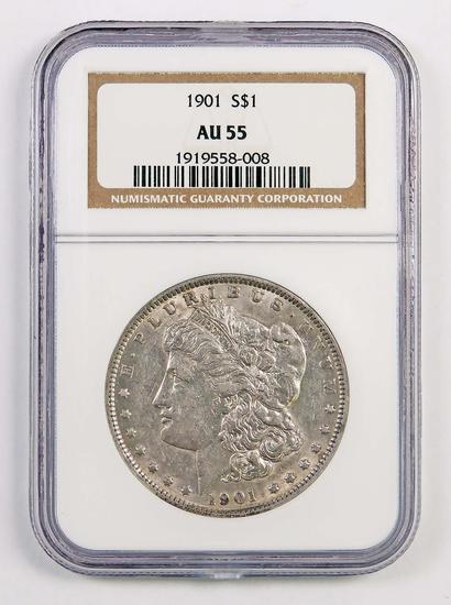 1901 P Morgan Silver Dollar (NGC) AU55.