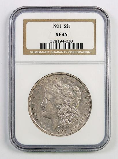1901 P Morgan Silver Dollar (NGC) XF45.
