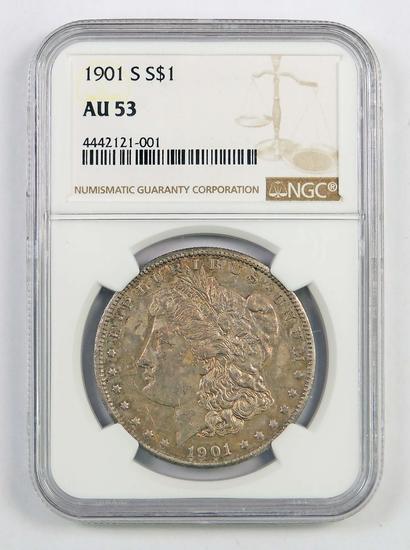 1901 S Morgan Silver Dollar (NGC) AU53.