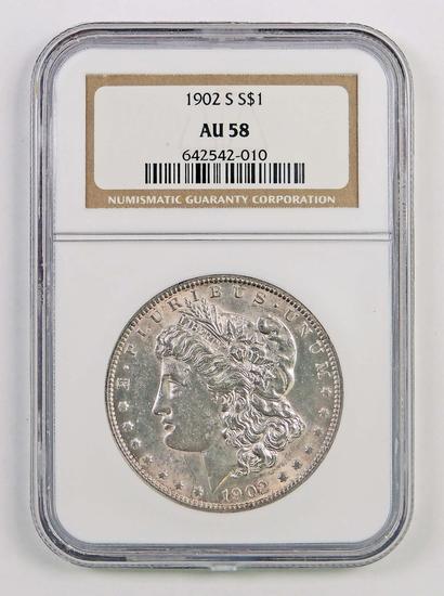 1902 S Morgan Silver Dollar (NGC) AU58.