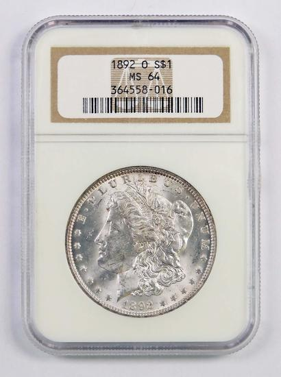 1892 O Morgan Silver Dollar (NGC) MS64.
