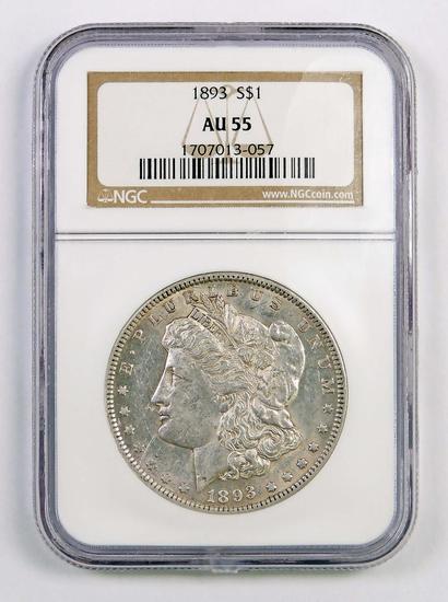 1893 P Morgan Silver Dollar (NGC) AU55.