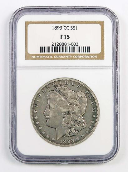 1893 CC Morgan Silver Dollar (NGC) F15.