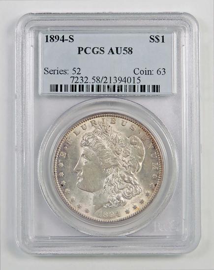 1894 S Morgan Silver Dollar (PCGS) AU58.