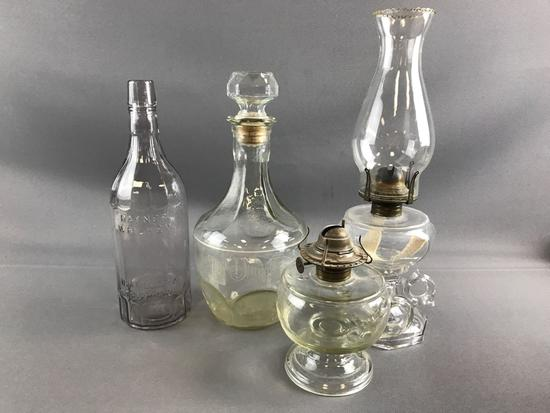 Group of Oil Lamps and Glass items