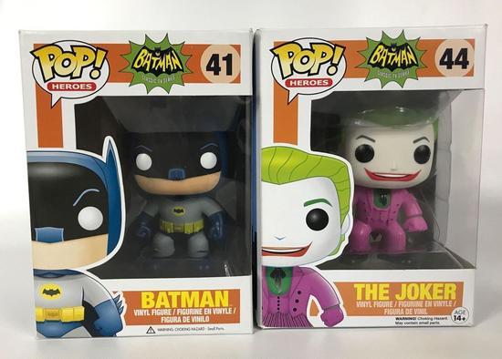"""Funko Pop """"1966"""" Batman and Joker Vinyl Figures in Original Boxes"""