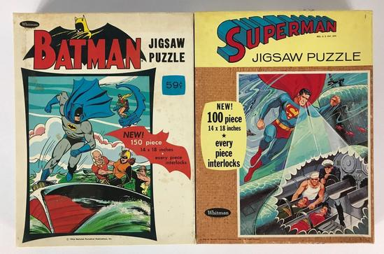 Vintage 1965 and 1966 Whitman Batman and Superman Jigsaw Puzzles