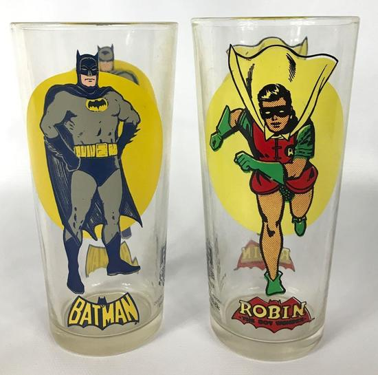 Vintage 1976 Batman and Robin Pepsi Super Series Glasses
