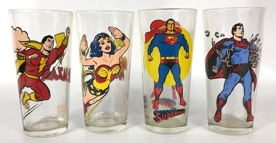 Group of 4 Vintage DC Super Heroes Pepsi Collectors Series Glasses