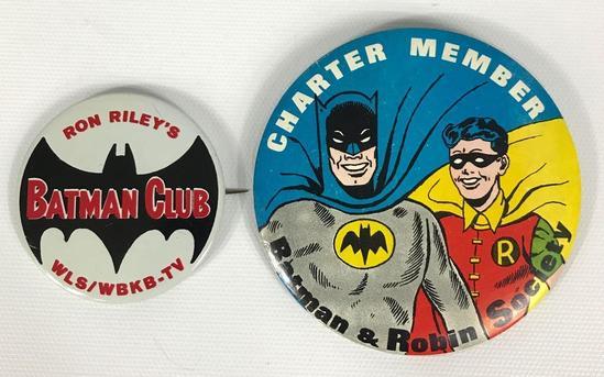 Vintage 1966 Batman and Robin Society Charter Member and Ron Riley's Batman Club Pinbacks