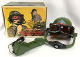 Vintage 1964 Topper Toys Johnny Seven Micro Helmet Phone Set with Original Box