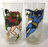 vintage 1978 Batman and Robin Pepsi Collectors Series Glasses