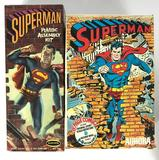 Group of 2 Vintage Aurora Superman Model Kit Boxes and Parts