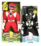 Group of 3 1994 Mighty Morphin Power Rangers Red and Black Ranger Plush Dolls