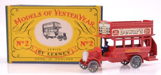 Rare Variation Matchbox Models of Yesteryear No. 2 Dewar's 'B' Type Bus with Original Box