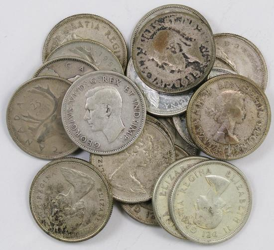 Lot of (19) Canada 25 Cents.