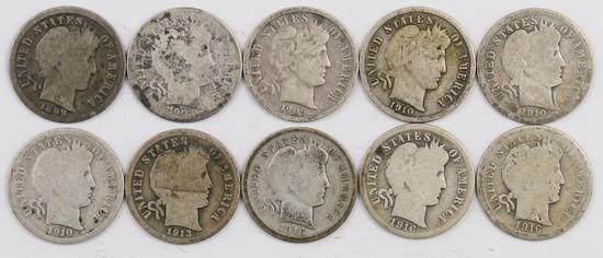 Lot of (10) Barber Silver Dimes.