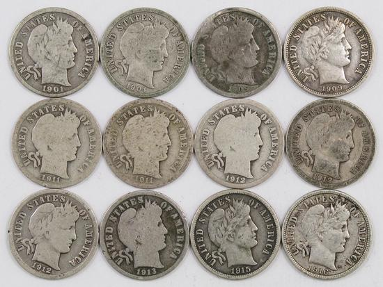 Lot of (12) Barber Silver Dimes.