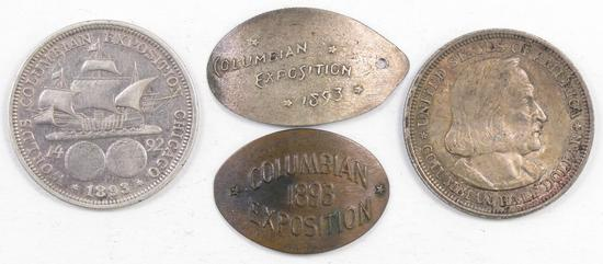 Lot of (4) 1893 World's Fair / Columbian Exposition Coin Group.