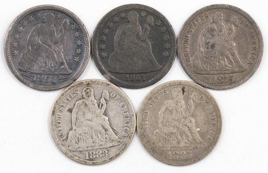 Lot of (5) Seated Liberty Silver Dimes.