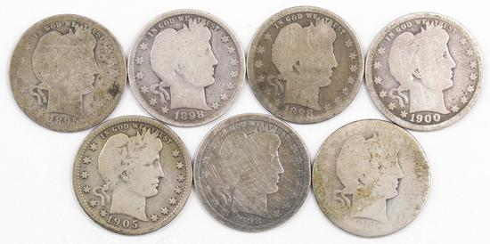 Lot of (7) Barber Silver Quarters