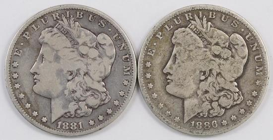 Lot of (2) Morgan Silver Dollars.