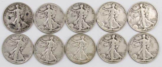 Lot of (10) Walking Liberty Silver Half Dollars.