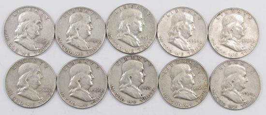 Lot of (10) Franklin Silver Half Dollars.