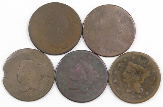Lot of (5) Draped Bust & Coronet Large Cents.