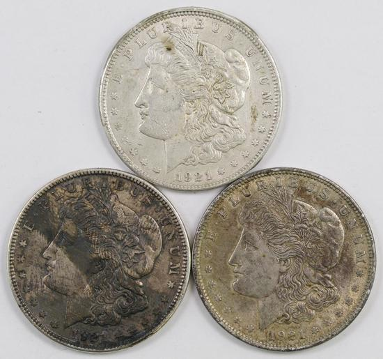 Lot of (3) 1921 P Morgan Silver Dollars.