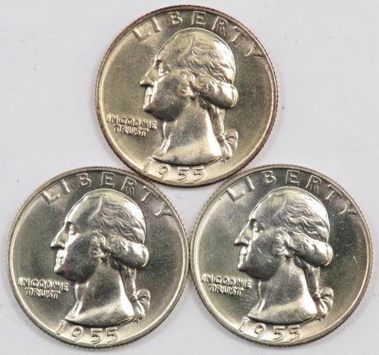 Lot of (3) 1955 D Washington Silver Quarters.