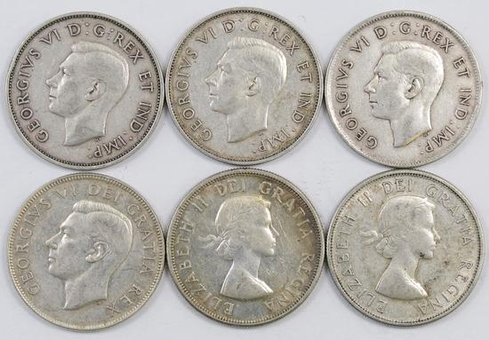 Lot of (6) Canada 50 Cents.
